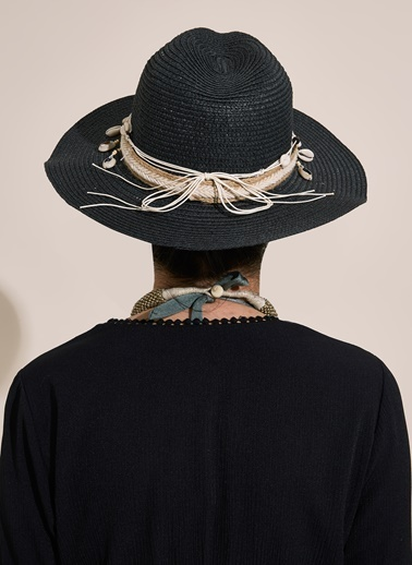 Morhipo Beach Deniz Kabuğu Şeritli Hasır Şapka Siyah